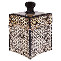Caja cerámica puntas crema-negro 24.5 cm