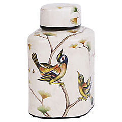 Jarron cerámica crema pajaro 21.5 cm