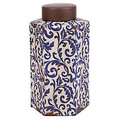 Jarron cerámica crema hojas azul 26