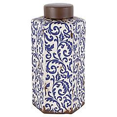Jarron cerámica crema hojas azul 31