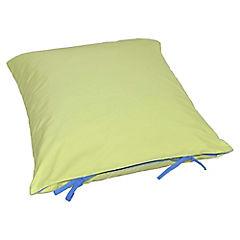 Cojín pluma reversible azul/verde 40x40 cm