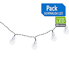 Guirnalda solar LED 10 luces Transparente