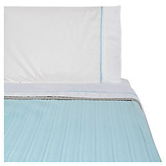 Quilt + sábanas aqua/taupe 1.5 plaza