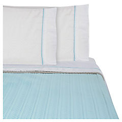 Quilt + sábanas aqua/taupe king