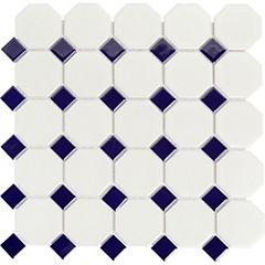 Malla 30x30 cm hexagonal blanca/azul