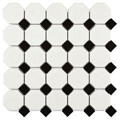 Malla 30x30 cm hexagonal blanca/negra