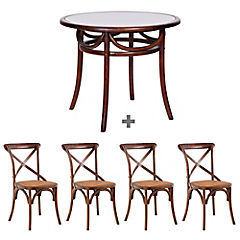 Juego de comedor Viena 4 sillas Vintage café