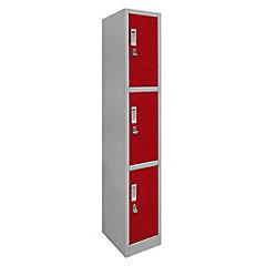 Lockers de oficina rojo 1 cuerpo 3 puertas con candado