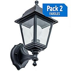 Pack 2 faroles plásticos E27 negro