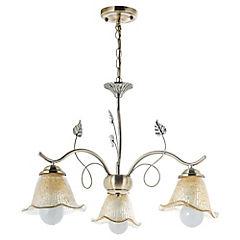 Lámpara de colgar 3 luces hojas vidrio craquelado