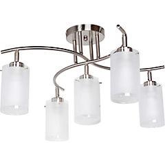 Lámpara de techo metal cromo vidrio 5 luces