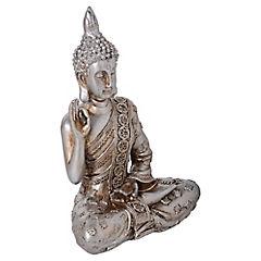 Buda decorativo 19,5x14x8 cm poliresina plateado