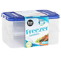 Set 2 contenedores rectangulares de freezer 2600 ml