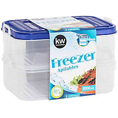 Set 2 contenedores rectangulares de freezer 2000 ml