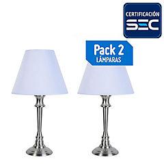 Pack 2 Lámpara de mesa metal Lille E27