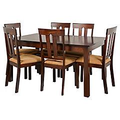 Comedor Louis 6 sillas 140x90 cm café