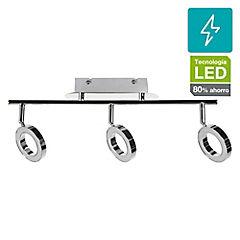 Apliqué LED 3 luces 3 a 5 W Cromado
