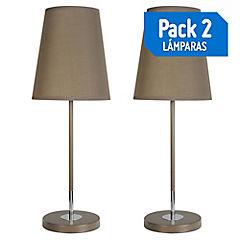 Pack 2 Lámpara de mesa 1 luz E27 café