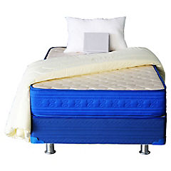 Box americano 1 plaza azul + textil Dormiflex