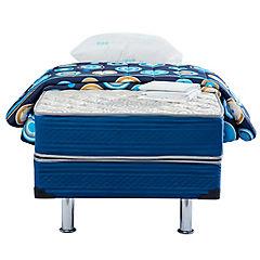 Box americano 1.5 plazas azul + textil Dormiflex