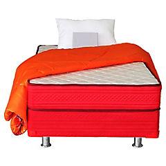 Box americano 1 plaza rojo + textil Dormiflex