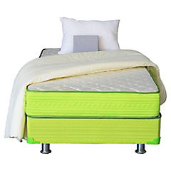 Cama americana base normal 1,5 plazas verde con textil
