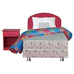 Box Americano Dormiflex 1.5 plazas con respaldo 1 velador plumón y almohada rosado