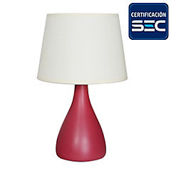 Lámpara de mesa Laura 1 luz E27 burdeo