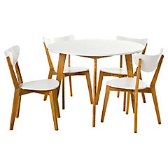 Comedor Lazio 4 sillas 105x75 cm natural y blanco