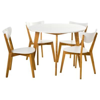 Juego de comedor 4 sillas blanco for Sillas para comedor redondo