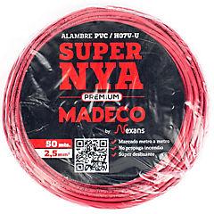 Alambre de cobre aislado 2,5 mm2 Rojo 50 m