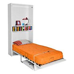 Cama 1 plaza con estante y escritorio blanco - Sodimac.com