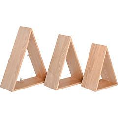 Set repisas triangulo madera 39x12x30 cm 3 unidades café