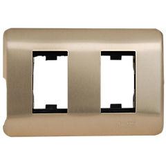 Placa para 2 módulos iridium bronce.