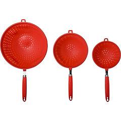 Set 3 coladores silicona rojo
