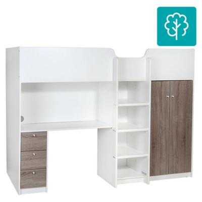 Cama con escritorio 1 plaza 150x104x203 cm blanco for Camarote con escritorio