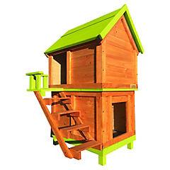 Casa para perro doble mediana verde pistacho