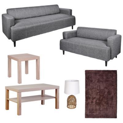Combo sof 2 y 3 cuerpos mesa de centro alfombra for Sofa cama sodimac