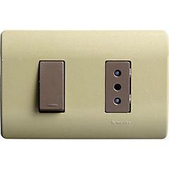 Interruptor 9/12 y tomacorriente embutible con placa 10 a 16 A Dorado