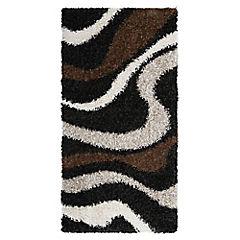 Alfombra Shaggy ola negro 80x150 cm
