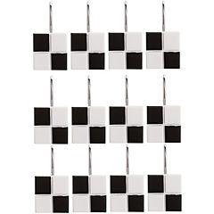 Set 12 ganchos cuadrados blanco/negro
