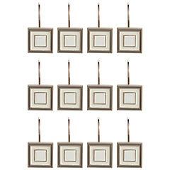 Set 12 ganchos cuadrados beige