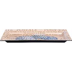 Plato rectangular flor celeste 36x17 cm
