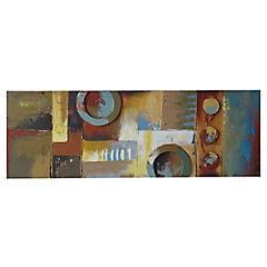 Óleo círculos abstractos 120x40 cm