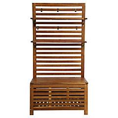 Mueble organizador de terraza con baúl acacia