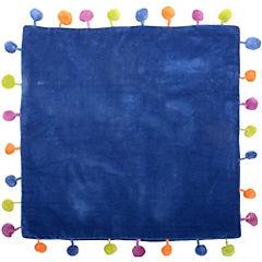 Funda cojín pompones azul 40x40 cm