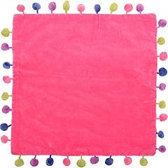 Funda cojín pompones rosado 40x40 cm