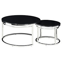 Set de 2 mesas Isola vidrio negro 71x71x40 cm