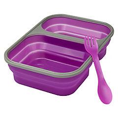 Contenedor adulto con cubiertos púrpura