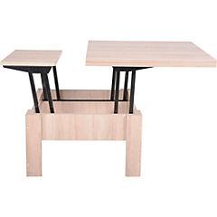 Mesa de centro y comedor 80/160x44/75x80/80 cm oak
